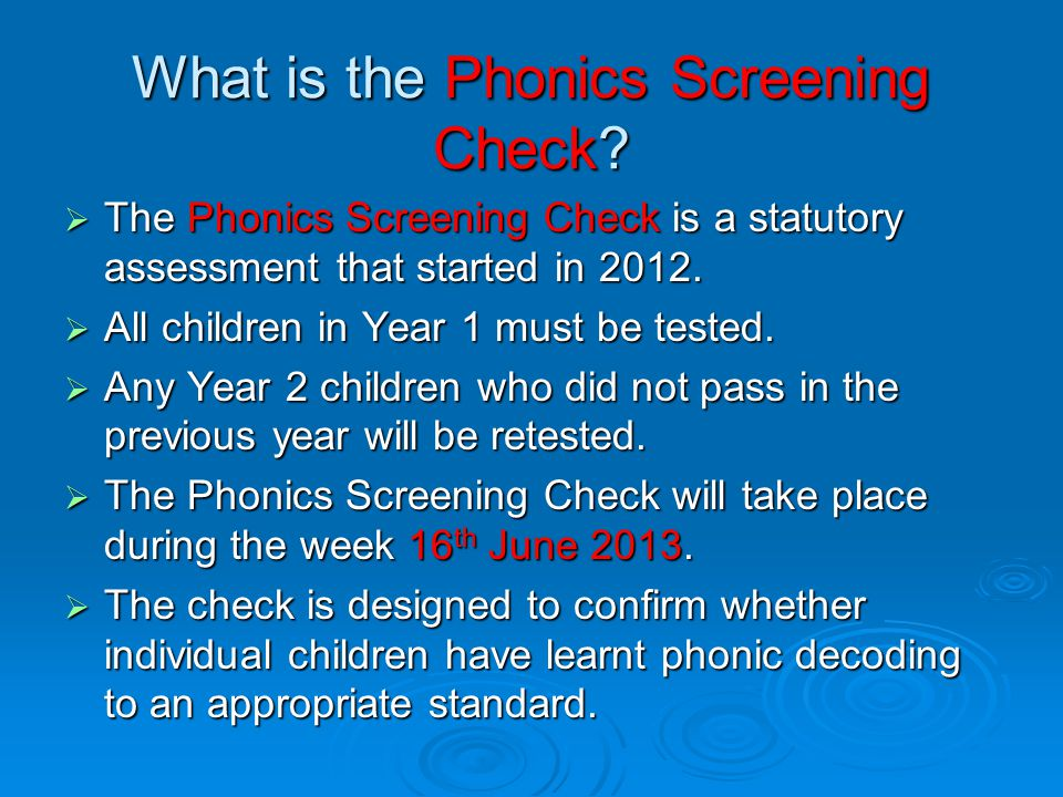 What is the Phonics Screening Check
