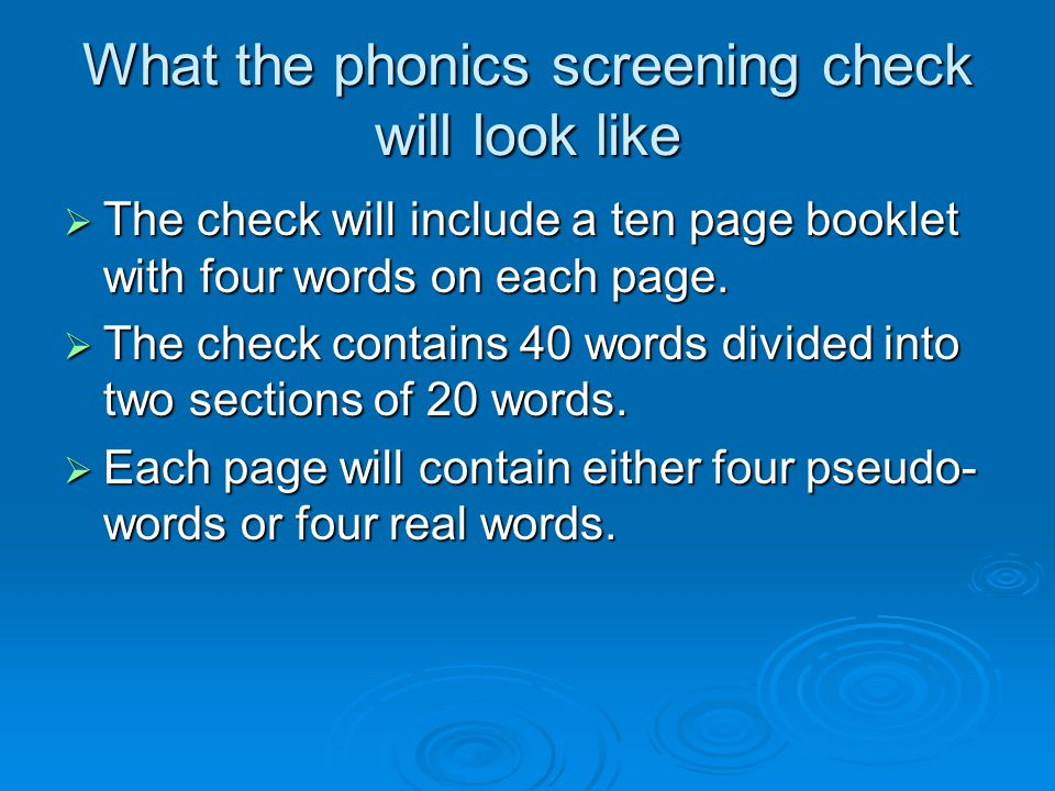 What the phonics screening check will look like