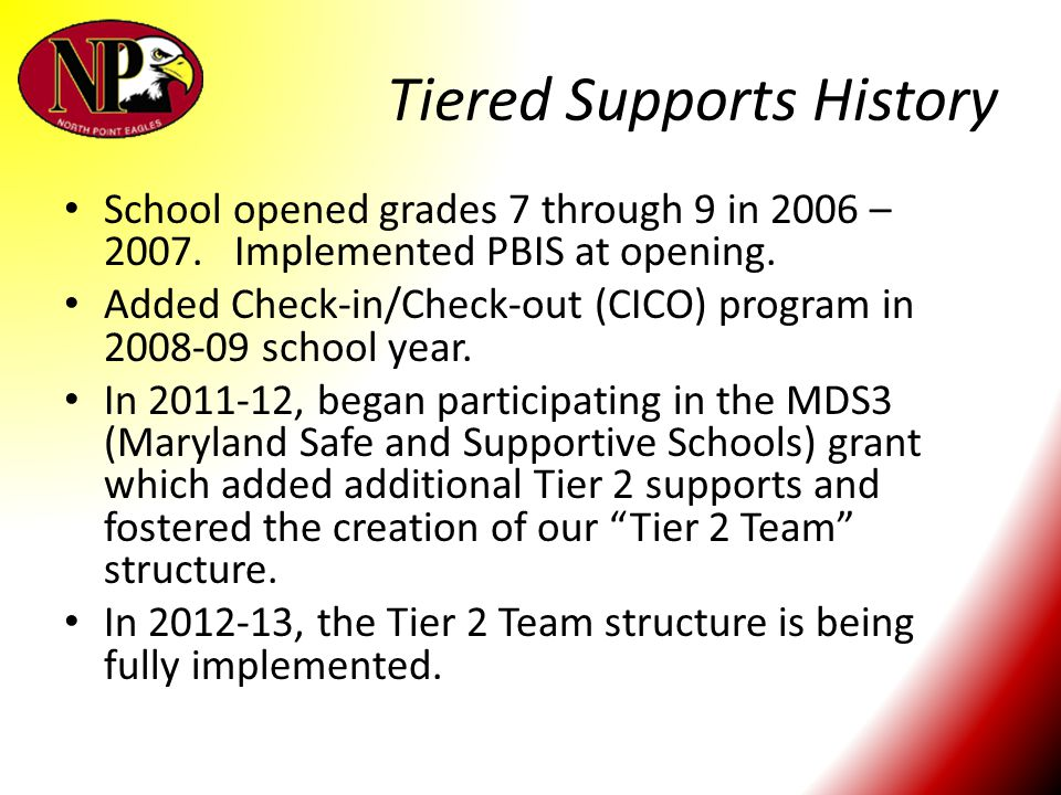 Tiered Supports History