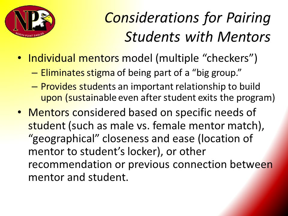 Considerations for Pairing Students with Mentors