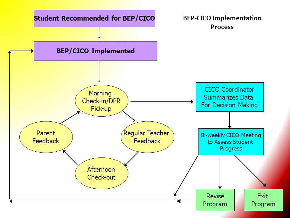 Student Recommended for BEP/CICO BEP-CICO Implementation Process