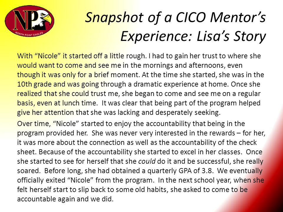 Snapshot of a CICO Mentor's Experience: Lisa's Story