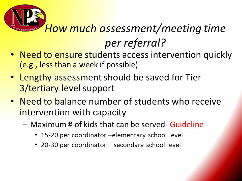 How much assessment/meeting time per referral