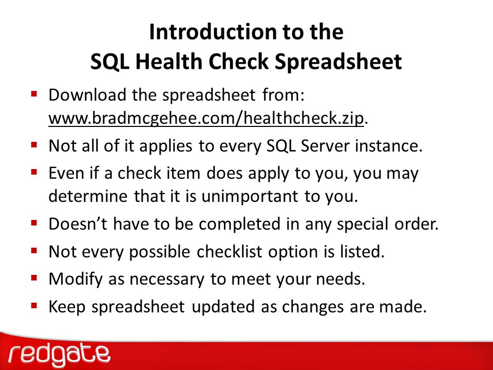 Introduction to the SQL Health Check Spreadsheet