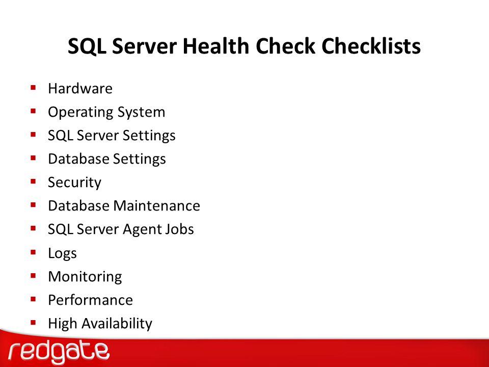 SQL Server Health Check Checklists