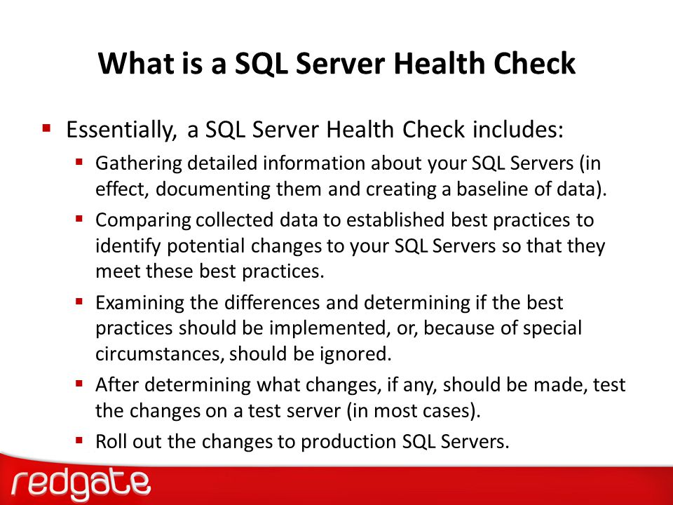 What is a SQL Server Health Check