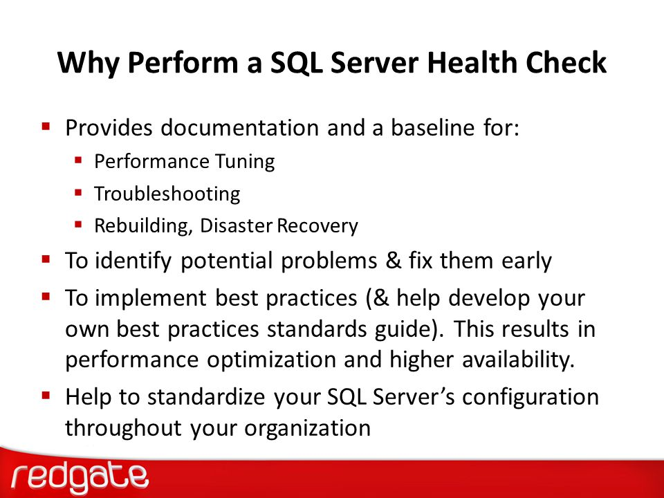 Why Perform a SQL Server Health Check