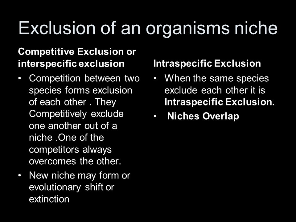 Exclusion of an organisms niche