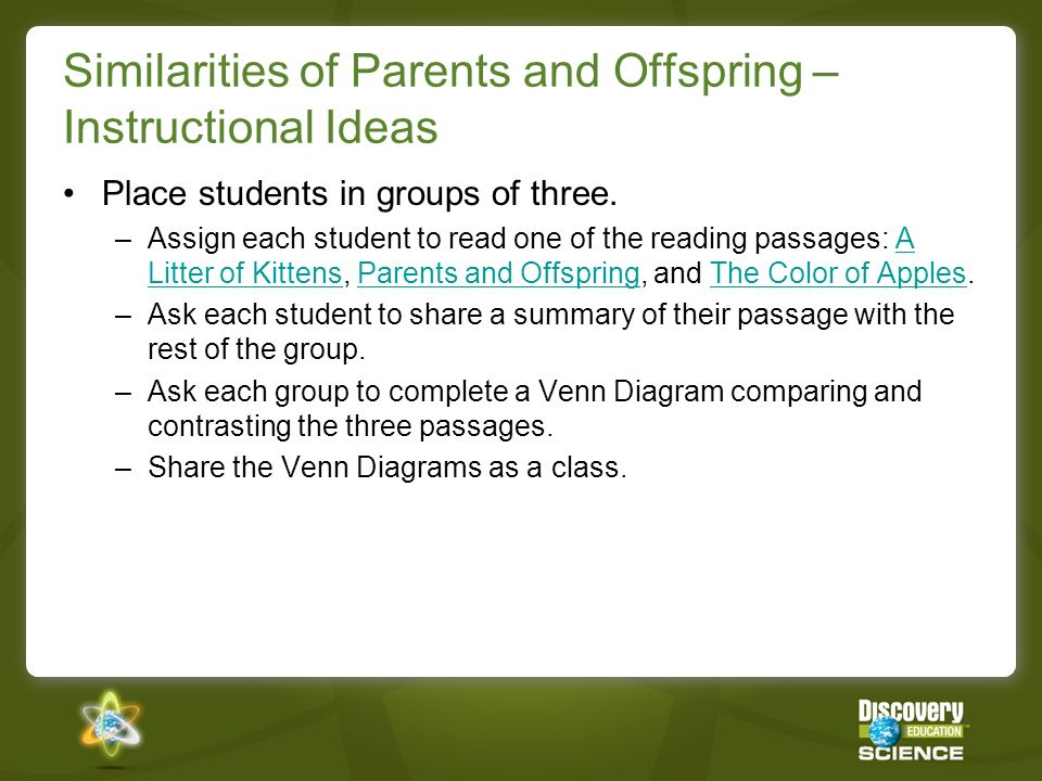 Similarities of Parents and Offspring – Instructional Ideas