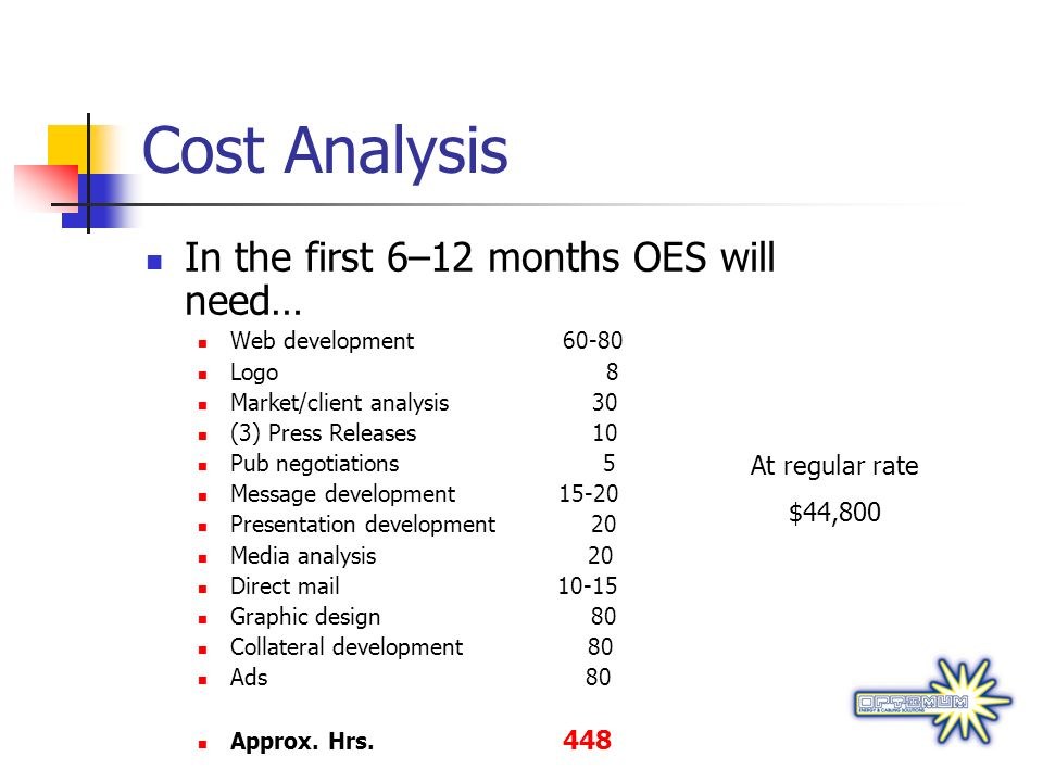 Cost Analysis In the first 6–12 months OES will need… At regular rate