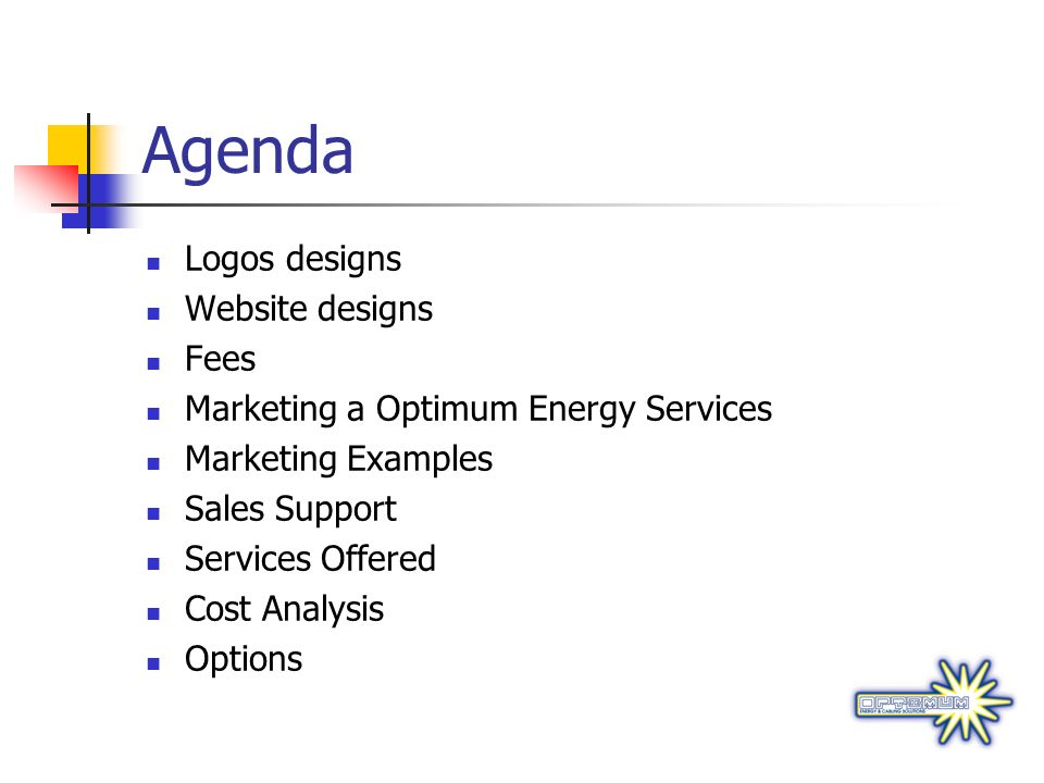 Agenda Logos designs Website designs Fees