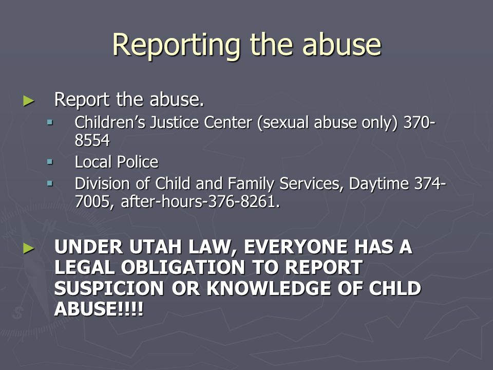 Reporting the abuse Report the abuse.