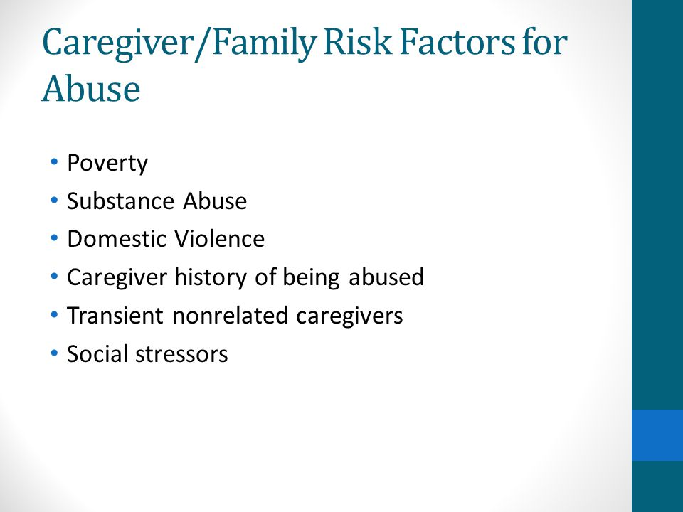 Caregiver/Family Risk Factors for Abuse