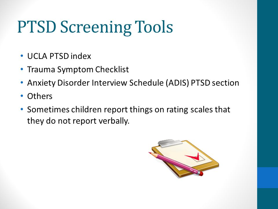 PTSD Screening Tools UCLA PTSD index Trauma Symptom Checklist