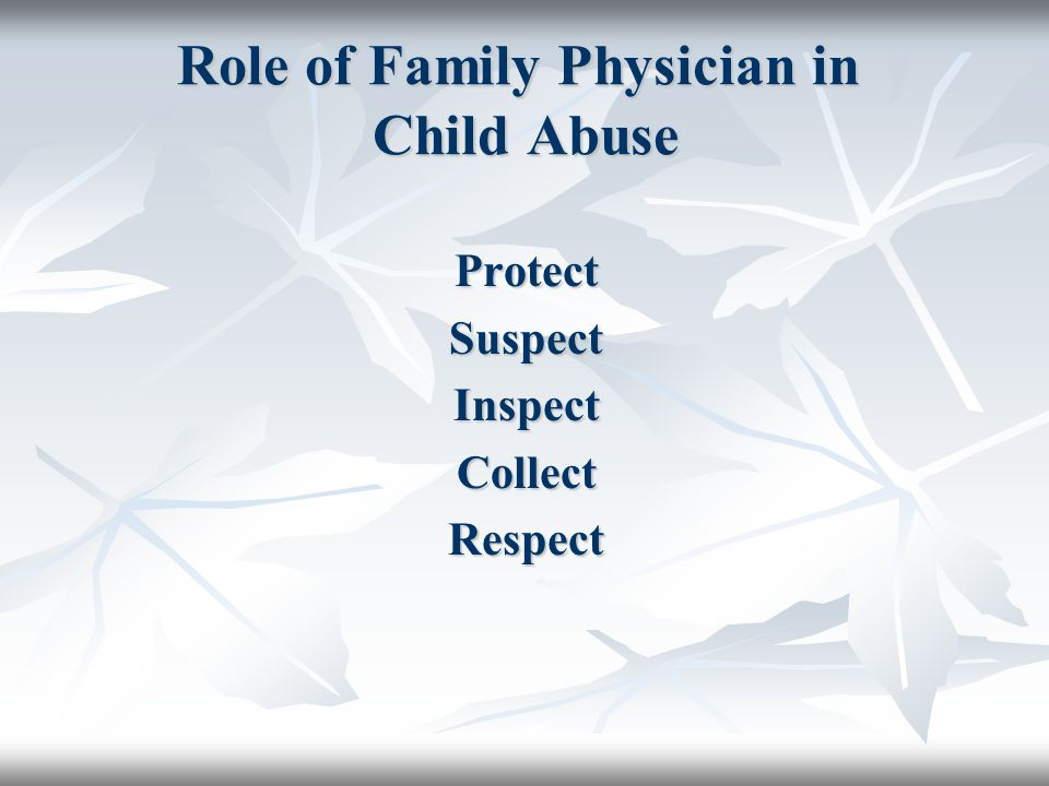 Role of Family Physician in Child Abuse
