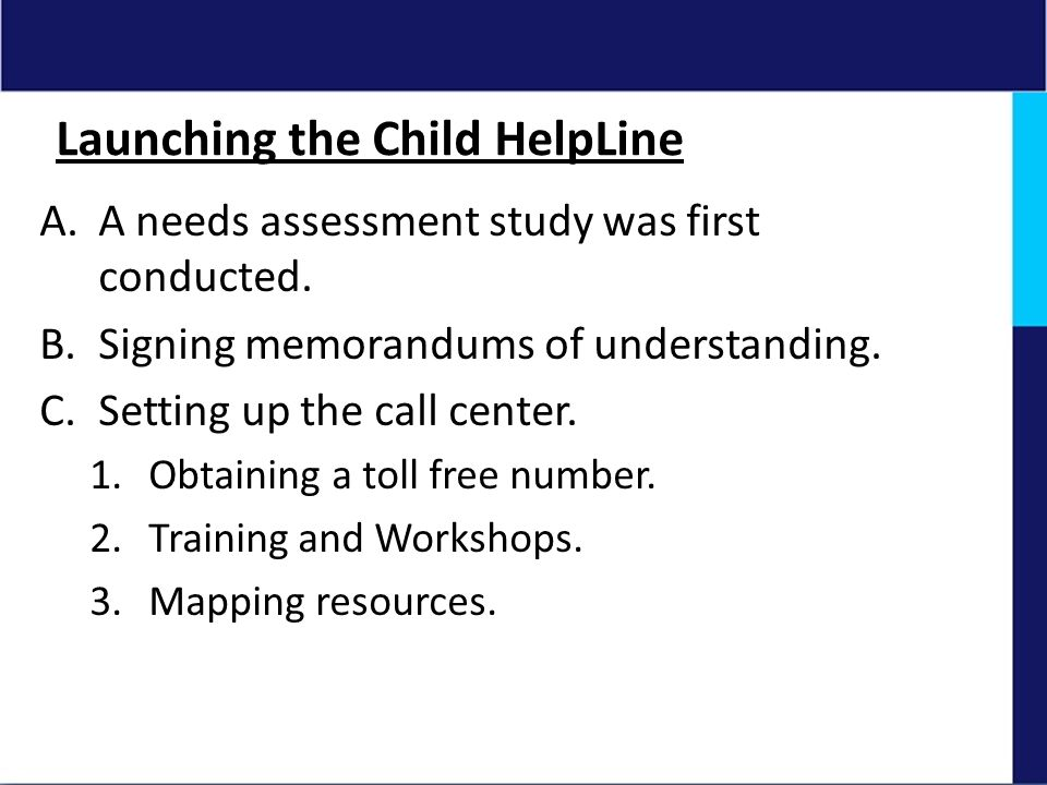 Launching the Child HelpLine