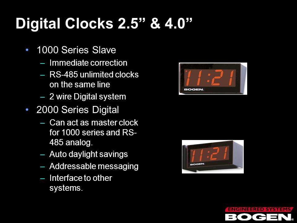 Digital Clocks 2.5 & 4.0 1000 Series Slave 2000 Series Digital