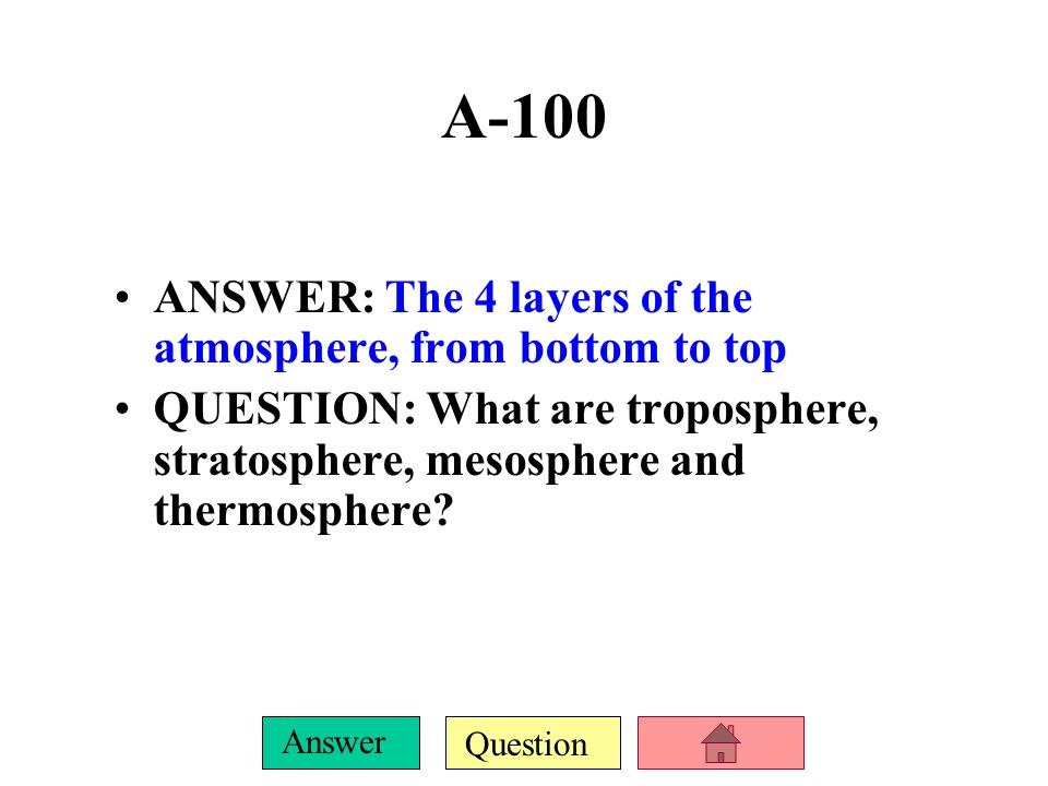 A-100 ANSWER: The 4 layers of the atmosphere, from bottom to top