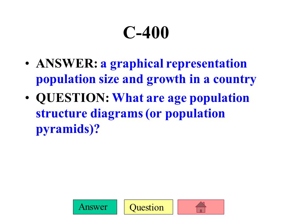 C-400 ANSWER: a graphical representation population size and growth in a country.