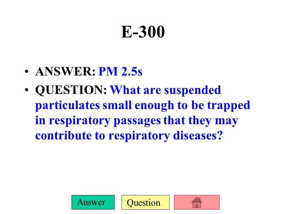 E-300 ANSWER: PM 2.5s.