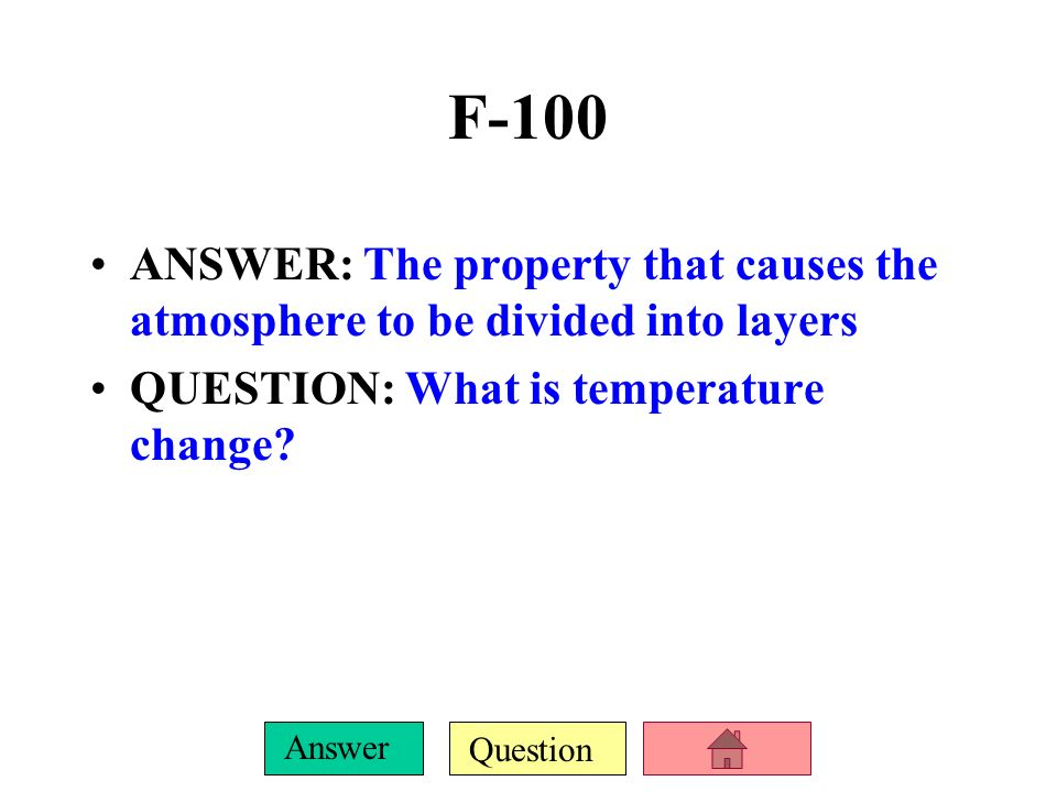 F-100ANSWER: The property that causes the atmosphere to be divided into layers.