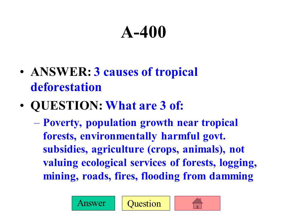 A-400 ANSWER: 3 causes of tropical deforestation