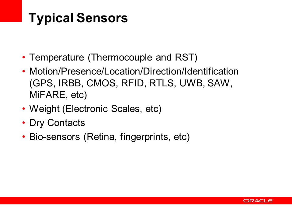Typical Sensors Temperature (Thermocouple and RST)