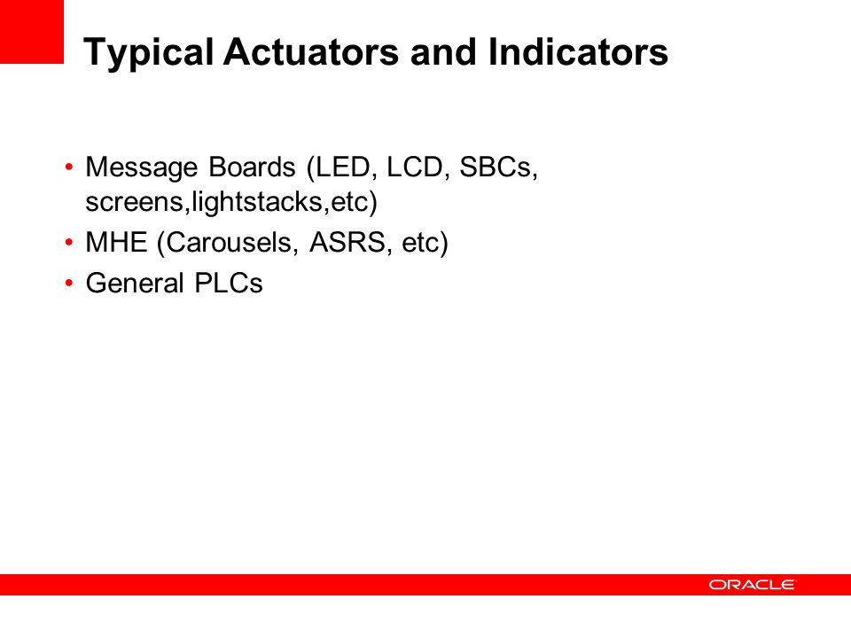 Typical Actuators and Indicators