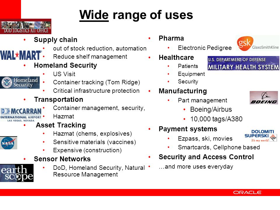 Wide range of uses Pharma Supply chain Healthcare Homeland Security