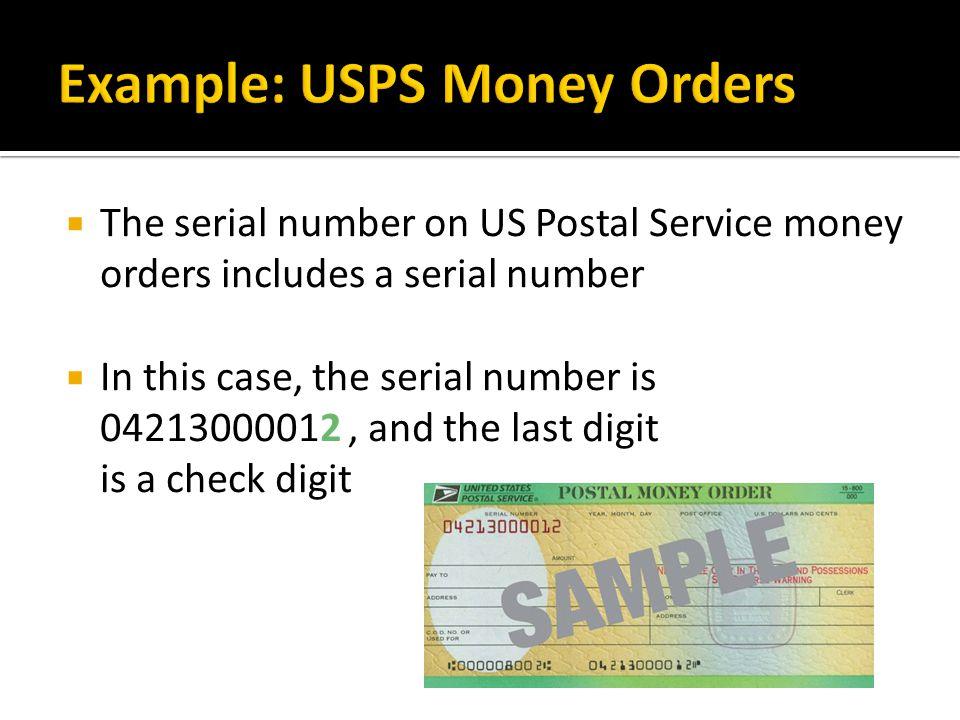 Example: USPS Money Orders