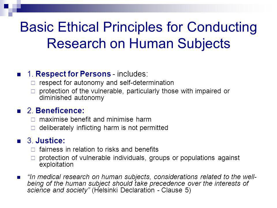 "ethical principals for protecting research participants essay On september 30, 1978, the national commission for the protection of human subjects of biomedical and behavioral research submitted its report entitled ""the belmont report: ethical principles and guidelines for the protection of human subjects of research""."