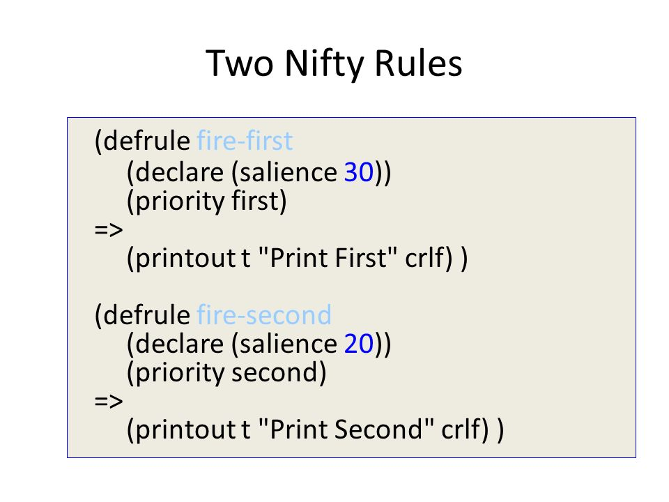 Two Nifty Rules