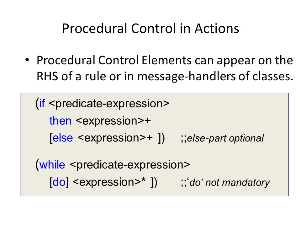 Procedural Control in Actions