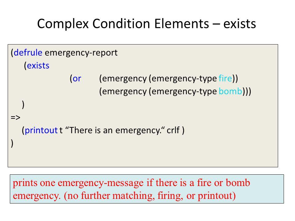 Complex Condition Elements – exists