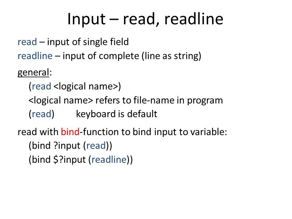 Input – read, readline