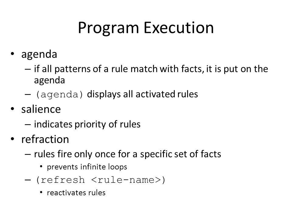 Program Execution agenda salience refraction