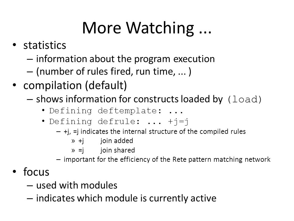 More Watching ... statistics compilation (default) focus