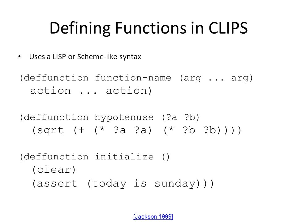 Defining Functions in CLIPS