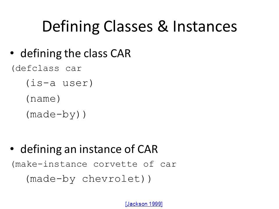 Defining Classes & Instances