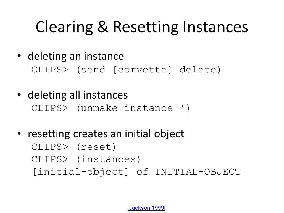 Clearing & Resetting Instances