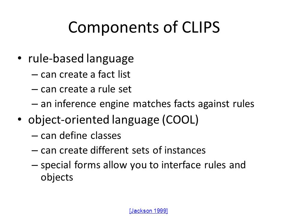 Components of CLIPS rule-based language