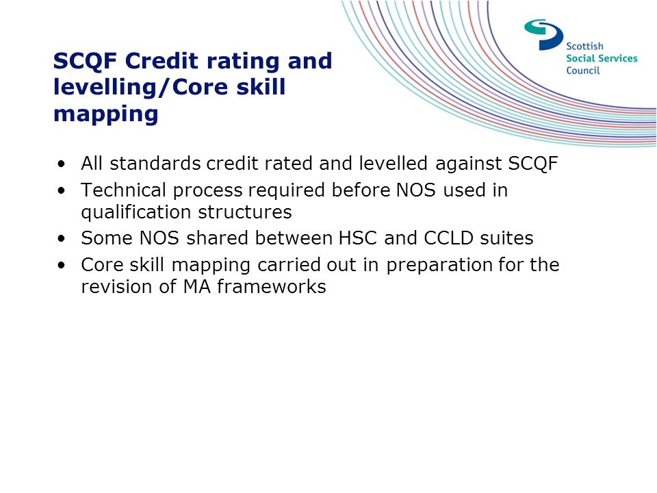 SCQF Credit rating and levelling/Core skill mapping