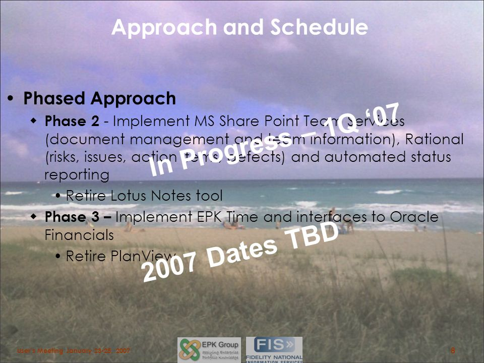 In Progress – 1Q '07 2007 Dates TBD Approach and Schedule