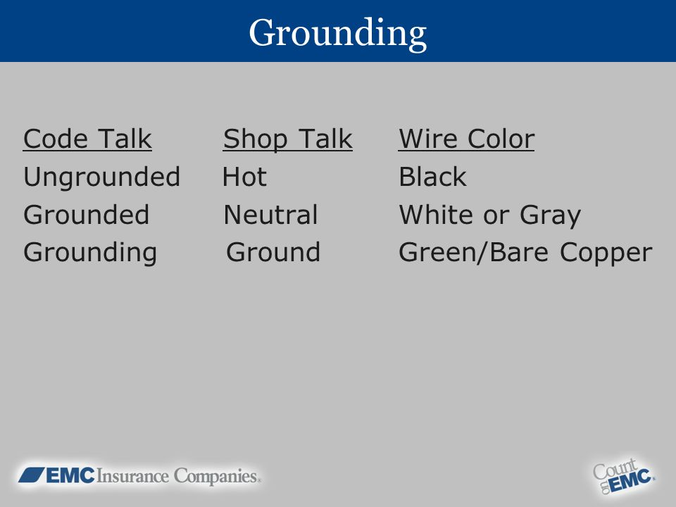 Grounding Code Talk Shop Talk Wire Color Ungrounded Hot Black