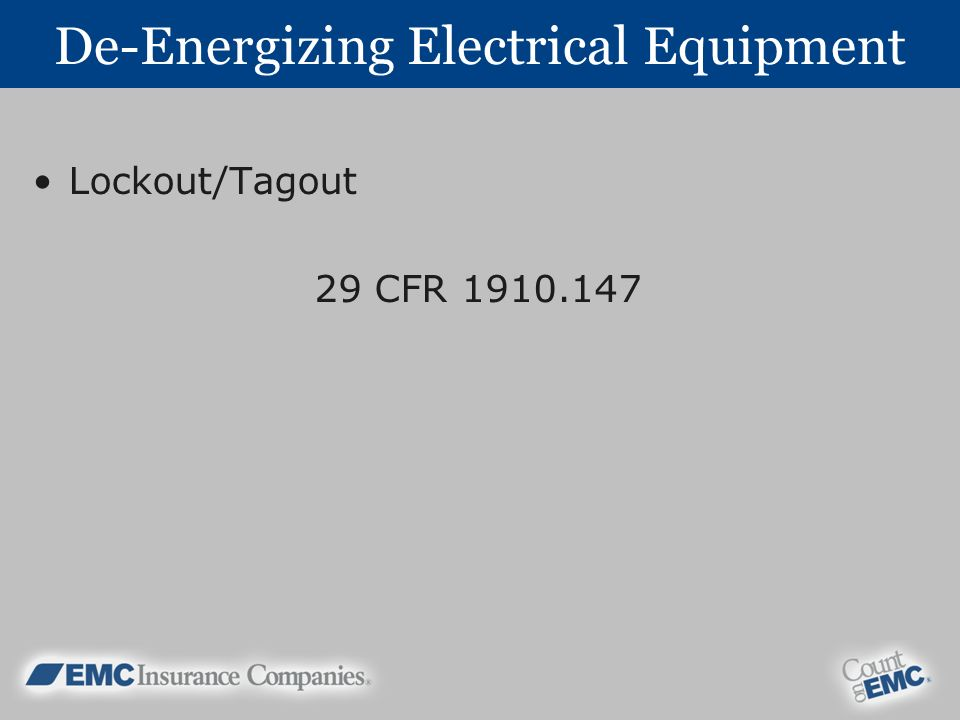 De-Energizing Electrical Equipment