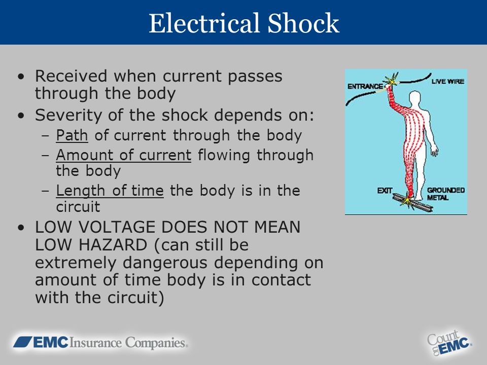 Electrical Shock Received when current passes through the body