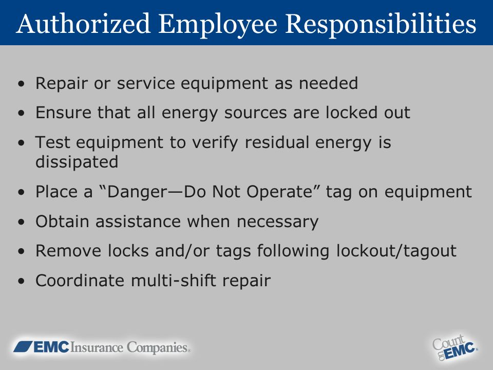 Authorized Employee Responsibilities