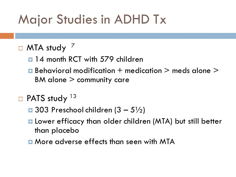 Major Studies in ADHD Tx
