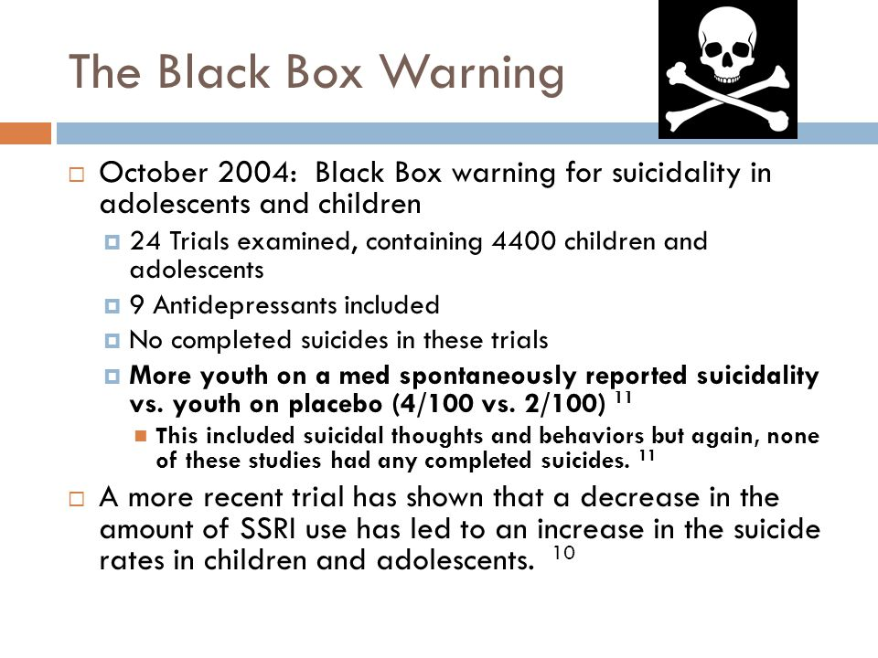 The Black Box Warning October 2004: Black Box warning for suicidality in adolescents and children.