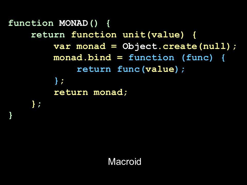 function MONAD() { return function unit(value) { var monad = Object